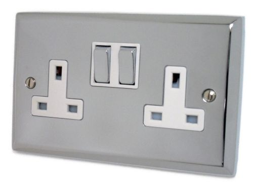 G&H SC210 Spectrum Plate Polished Chrome 2 Gang Double 13A Switched Plug Socket